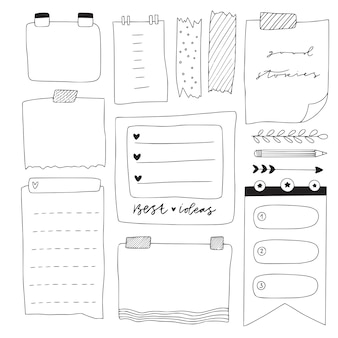Feuilles de carnet de notes vierges dessinées à la main