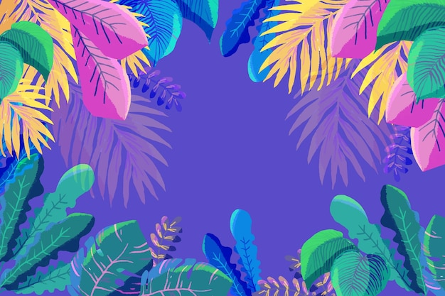 Feuilles colorées tropicales avec espace copie