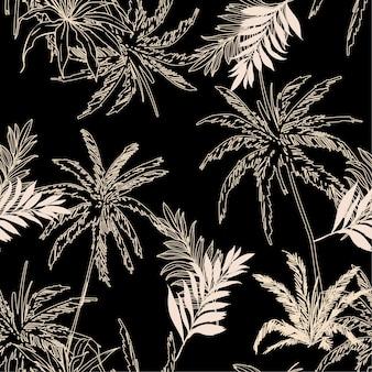 Feuilles de palmier de la jungle de vecteur transparente motif tropical foncé
