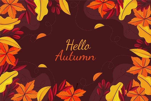 Feuilles dorées et brunes fond automne dessiné à la main