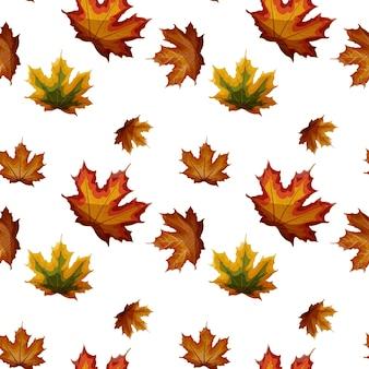 Feuilles d'érable automne isolé modèle sans couture.