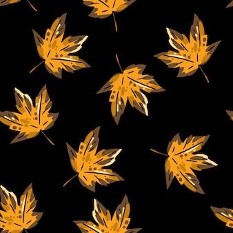 Feuilles d'érable automne mignon modèle sans couture de dessin animé.