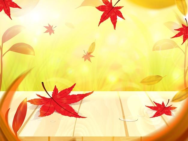 Feuilles d'érable automne sur plancher en bois, illustration vectorielle