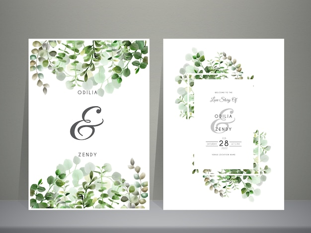 Feuilles d'eucalyptus dessinés à la main de verdure modèle d'invitation de mariage