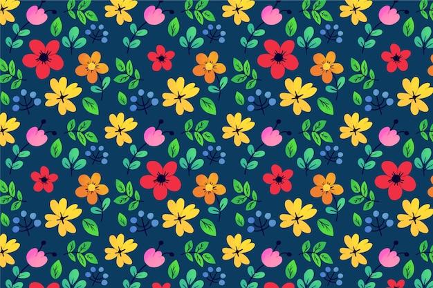Feuilles exotiques et fleurs fond de boucle ditsy