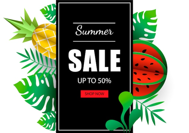 Feuilles exotiques tropicales bannière modèle de vente d'été