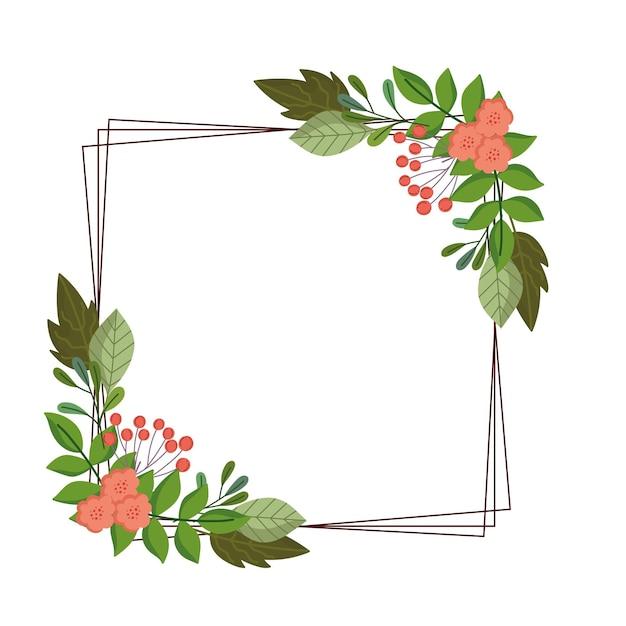Feuilles fleur fruit berry feuillage nature décoration cadre illustration