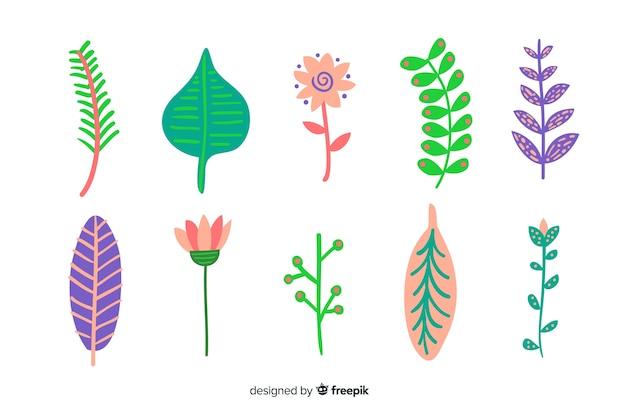 Feuilles et fleurs dessinées à la main abstraite