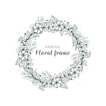 Feuilles et fleurs dessinées à la main au printemps