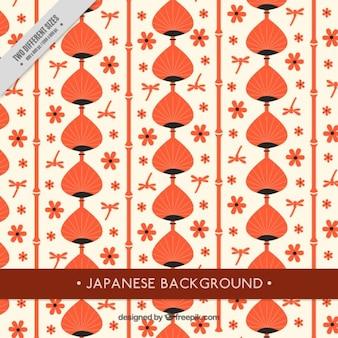 Feuilles et fleurs de fond japonais orange