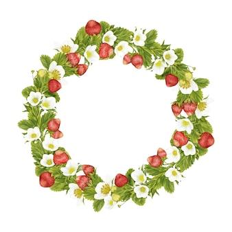 Feuilles de fleurs de guirlande de fraises d'été