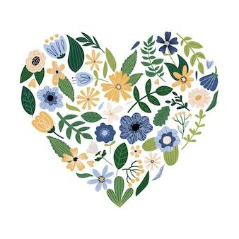 Feuilles de fleurs et plantes en forme de coeur illustration botanique plate