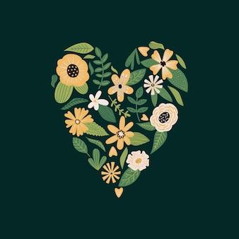 Feuilles de fleurs de vecteur et plantes en forme de coeur bouquet floral