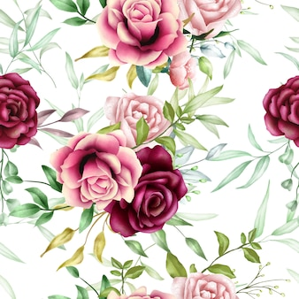 Feuilles florales beau modèle sans couture aquarelle