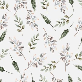 Feuilles florales modèle sans couture de peinture aquarelle