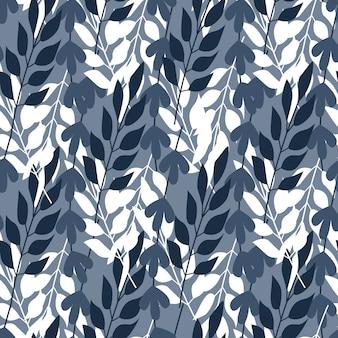 Feuilles de forêt abstraite et modèle sans couture d'herbe.