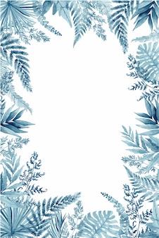 Feuilles de fougère bleue, cadre tropical