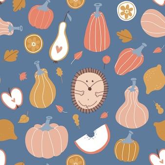 Feuilles de fruits de citrouille hygge automne modèle sans couture et citrouilles avec récolte abstraite de hérisson mignon...