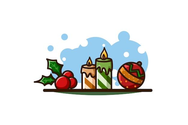 Feuilles de houx, bougies et boule, icône de noël