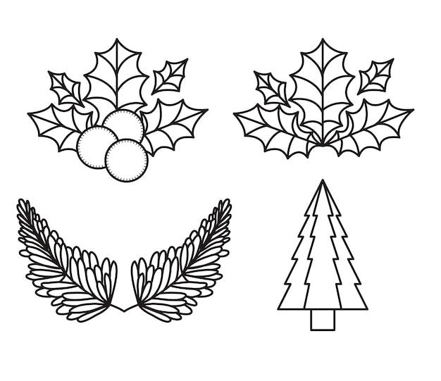 Feuilles et icône de silhouettes de pin