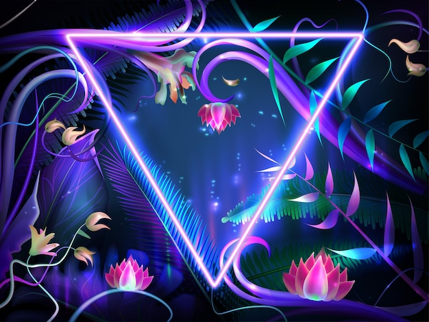 Feuilles lumineuses réalistes avec cadre néon violet. fleurs de lotus lumineuses, plantes illuminées exotiques et feuille tropicale de la jungle avec bordure en forme de triangle. concevoir avec un fond sombre pour la carte d'invitation