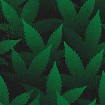 Feuilles de marijuana pointillées seamless pattern