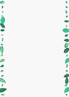 Feuilles de menthe volant bordure de fond transparent de vecteur. illustration de feuillage de mouvement. direction générale de l'écologie des feuilles herbeuses. fond d'écran du vent des verts.