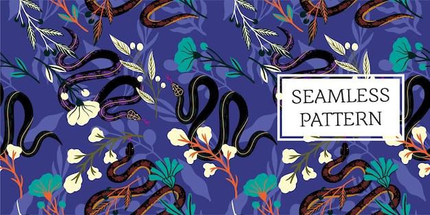 Feuilles de modèle sans couture et style branché de serpent