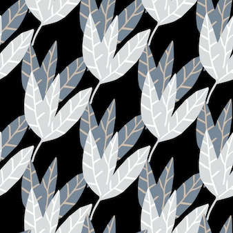 Feuilles monochromes abstraites fond d'écran sur fond noir. dessiner un modèle sans couture tropical à la main. conception pour tissu, impression textile, emballage. illustration vectorielle