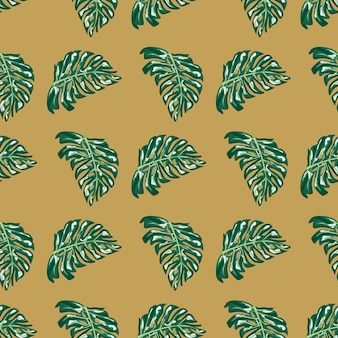 Les feuilles de monstera de couleur verte forment un motif de griffonnage sans couture. fond beige. impression de griffonnage. illustration vectorielle pour les impressions textiles saisonnières, les tissus, les bannières, les arrière-plans et les fonds d'écran.