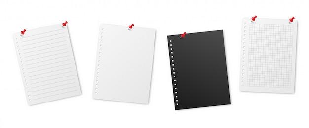 Feuilles de notes lignées réalistes épinglées. modèles de papiers de cahier quadrillé vierges