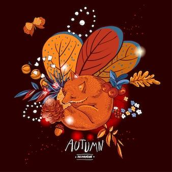 Feuilles d'orange d'automne douillettes, renard, fleurs, pomme de pin, baies, citrouille, lanterne et papillons