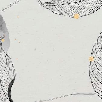 Feuilles orientales et cadre détaillé doré sur beige