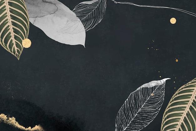 Feuilles orientales et cadre détaillé en or sur fond noir