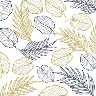 Feuilles de palmier modèle sans couture de ligne or