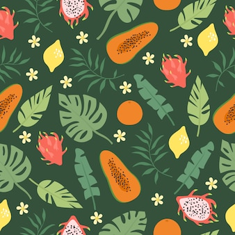 Feuilles de palmier et motif de fruits