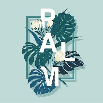 Feuilles de palmier protea fleurs vecteur
