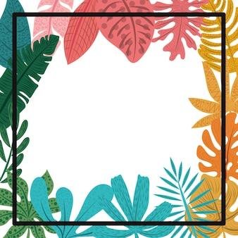 Feuilles De Palmier Tropical Et Cadre Noir Vecteur Premium