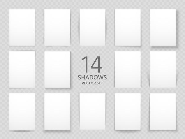 Feuilles de papier blanches avec différents effets d'ombre portée. modèle d'ombres de vecteur pour les affiches et la décoration de fond