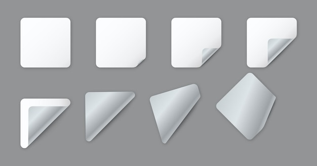 Feuilles de papier carrées arrondies blanches vierges avec coin recourbé
