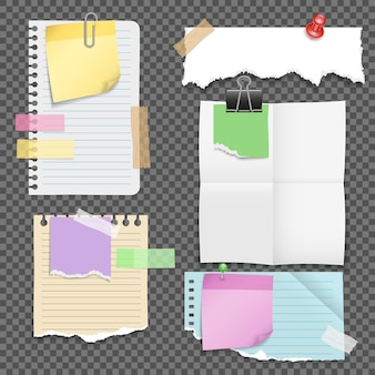 Feuilles de papier avec ensemble de papeterie