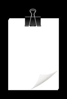 Feuilles de papier vierge avec des trombones en métal noir