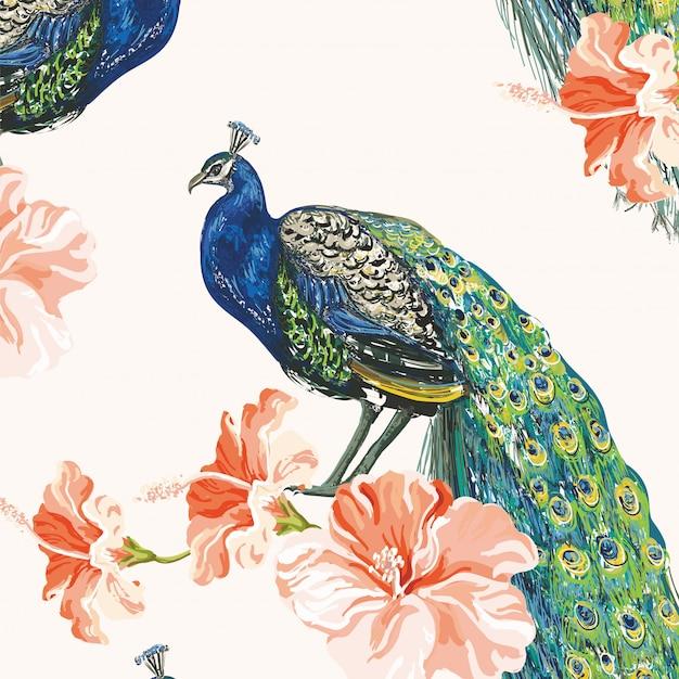 Feuilles de printemps animaux floral pattern background