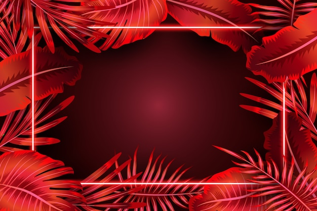 Feuilles réalistes avec cadre néon rouge