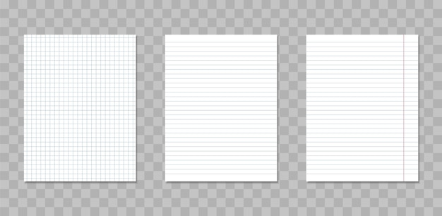 Feuilles réalistes de cahier carrés et lignés.