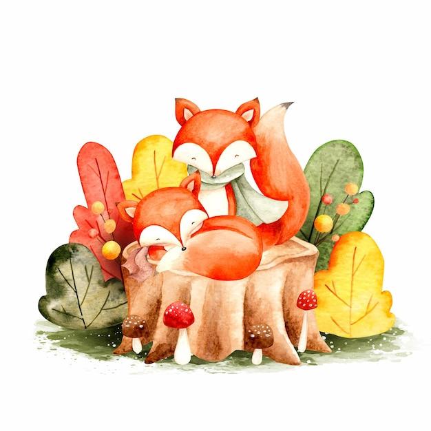 Feuilles et renard automne aquarelle