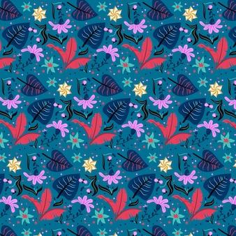 Feuilles rouges et motif de fleurs exotiques