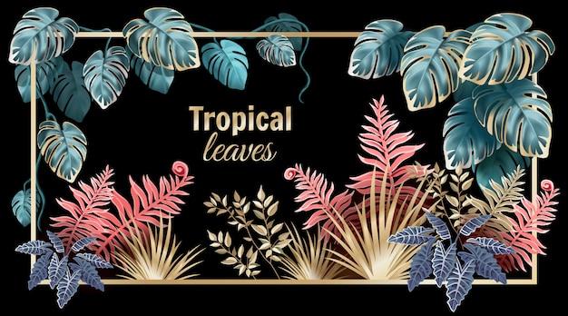 Feuilles sombres de lianes et plantes de la jungle.