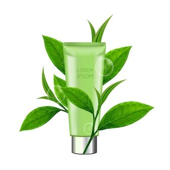 Feuilles de thé vert et produit de beauté