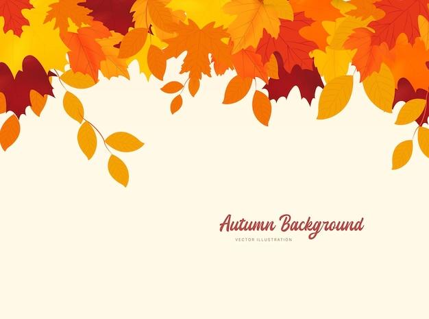 Feuilles tombantes d'automne isolées sur fond blanc fond d'automne avec des feuilles d'érable et de chêne doré